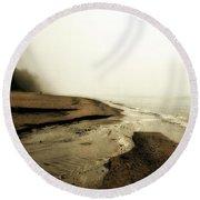 A Foggy Day At Pier Cove Beach Round Beach Towel