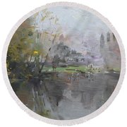 A Foggy Fall Day By The Pond  Round Beach Towel