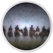 A Foggy Gettysburg Morning - Oil Round Beach Towel
