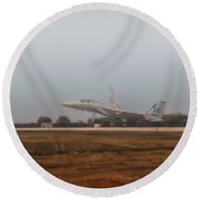 A Foggy Landing Round Beach Towel