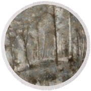 A Foggy Morning In November Round Beach Towel