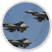 A Formation Of Turkish Air Force F-16cd Round Beach Towel