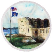 A Fort In Maine Round Beach Towel