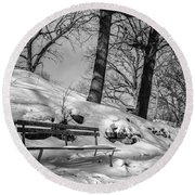 A Frigid Moment Round Beach Towel