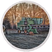 A Frosty John Deere Turbo 7700 Combine Round Beach Towel