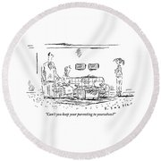 A Frustrated Teenager Addresses Both Round Beach Towel by Barbara Smaller