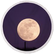 A Full Moon Behind My Fence Round Beach Towel