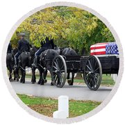 A Funeral In Arlington Round Beach Towel