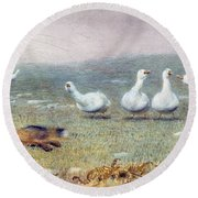 A Game Of Fox And Geese, 1868 Round Beach Towel