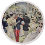 A Garden Party At The Elysee Round Beach Towel