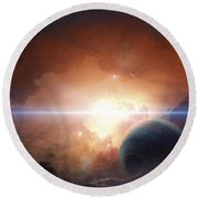 A Gas Giant Partly Hidden In A Nebula Round Beach Towel