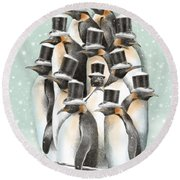 A Gathering In The Snow Round Beach Towel