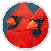 A Gathering Of Cardinals Round Beach Towel