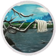 Aura On The Lake Round Beach Towel