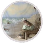 A Girl Posed By The Seashore Victoria Round Beach Towel