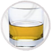 A Glass Of Whisky Or Whiskey Isolated Round Beach Towel