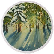 A Glow In The Forest Round Beach Towel