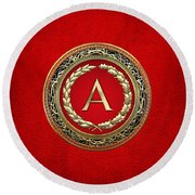 A - Gold Vintage Monogram On Red Leather Round Beach Towel