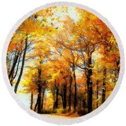 A Golden Day Round Beach Towel by Lois Bryan