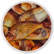 A Good Catch Of Fish Round Beach Towel