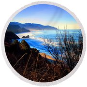 A Gorgeous Morning On The Pacific Round Beach Towel