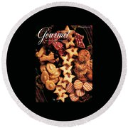 A Gourmet Cover Of Butter Cookies Round Beach Towel