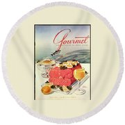 A Gourmet Cover Of Poached Salmon Round Beach Towel