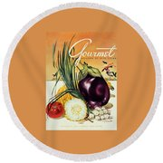 A Gourmet Cover Of Vegetables Round Beach Towel