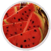 A Gourmet Cover Of Watermelon Sorbet Round Beach Towel