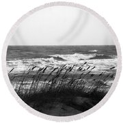 A Gray November Day At The Beach Round Beach Towel by Susanne Van Hulst