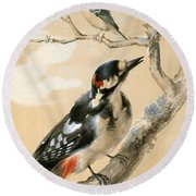 A Great Spotted Woodpecked And Another Small Bird Round Beach Towel