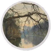 A Great Tree On A Riverbank Round Beach Towel