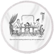 A Greek Family Is Seen Eating At The Table Round Beach Towel by Robert Leighton