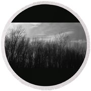 A Grey Point Of View Round Beach Towel