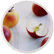 A Group Of Apples Round Beach Towel