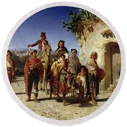A Gypsy Family On The Road, C.1861 Oil On Canvas Round Beach Towel