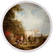 A Gypsy Scene Round Beach Towel