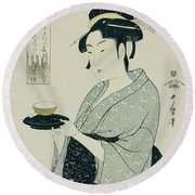 A Half Length Portrait Of Naniwaya Okita Round Beach Towel