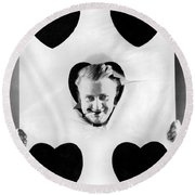 A Happy Five Of Hearts Round Beach Towel by Underwood Archives