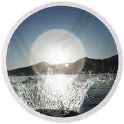 A Happy Young Women Canon Balls Round Beach Towel