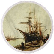 A Harbor Round Beach Towel by Eugene Galien-Laloue