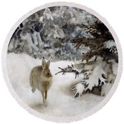 A Hare In The Snow Round Beach Towel