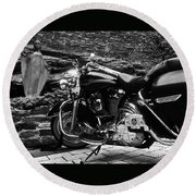 A Harley Davidson And The Virgin Mary Round Beach Towel