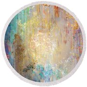 A Heart So Big - Abstract Art Round Beach Towel by Jaison Cianelli