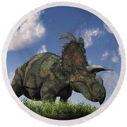 A Herd Of Albertaceratops Grazing Round Beach Towel