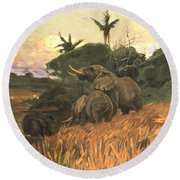 A Herd Of Elephants By Moonlight Round Beach Towel