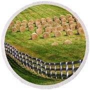 A Herd Of Hay Bales Round Beach Towel
