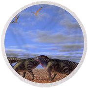 A Herd Of Parasaurolophus Dinosaurs Round Beach Towel by Corey Ford