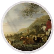 A Hilly Landscape With Figures Round Beach Towel