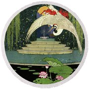 A House And Garden Cover A Bird Over A Pond Round Beach Towel